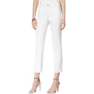 INC White Wash Embroidered Cropped Jeans